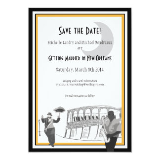 New Orleans Jazz Save the Date (black & gold) 5x7 Paper Invitation Card