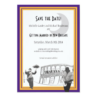 New Orleans Jazz Save the Date (purple & gold) Card