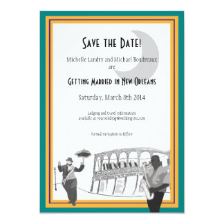 New Orleans Jazz Save the Date (teal & gold) Card