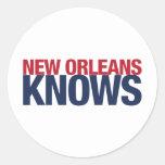 New Orleans Knows Round Sticker