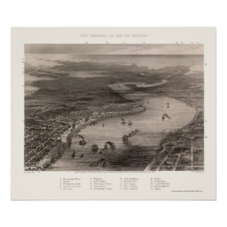 New Orleans, LA Panoramic Map - 1863 Poster