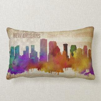 New Orleans, LA   Watercolor City Skyline Lumbar Pillow