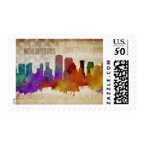 New Orleans, LA | Watercolor City Skyline Postage