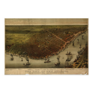 New Orleans Louisiana 1885 Panoramic Map Poster