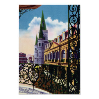 New Orleans Louisiana Cathedral and Balcony Poster