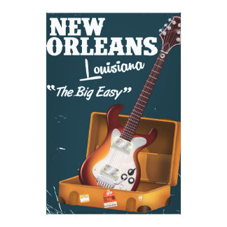 New Orleans Louisiana Electric Guitar poster Canvas Print