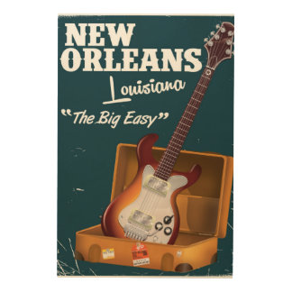 New Orleans Louisiana Electric Guitar poster Wood Print