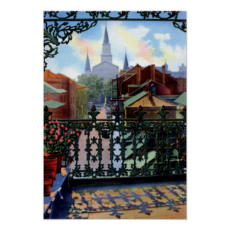 New Orleans Louisiana French Quarter Balcony Scene Poster
