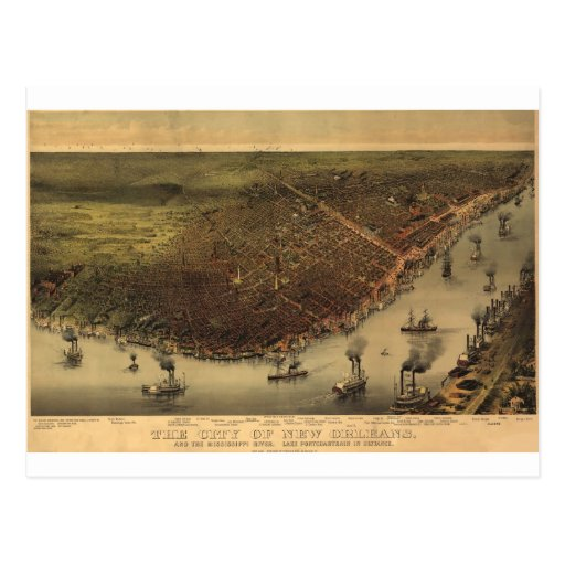 New Orleans, Louisiana in 1885 Postcard