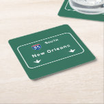 """New Orleans Louisiana Interstate Highway Freeway : Square Paper Coaster<br><div class=""""desc"""">New Orleans Louisiana la :: The IDEAL gift for anybody wanting a unique reminder of their favorite location! This familiar interstate sign design features the authentic and accurate typography officially used by the FHA/MUTCD. Our design also uses the exact same Pantone color specifications. Interstate : Highway : Freeway : Street...</div>"""