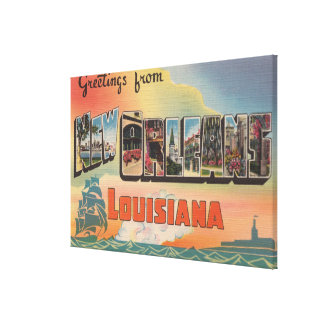 New Orleans, Louisiana - Large Letter Scenes Canvas Print