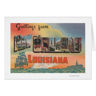 New Orleans, Louisiana - Large Letter Scenes Greeting Card