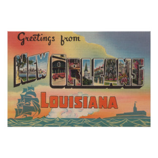 New Orleans, Louisiana - Large Letter Scenes Poster