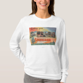 New Orleans, Louisiana - Large Letter Scenes T-Shirt