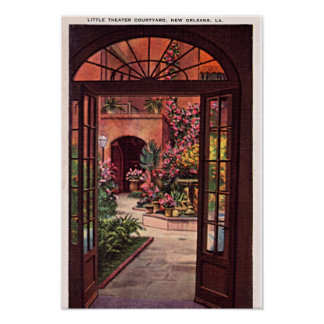 New Orleans Louisiana Little Theater Courtyard Poster