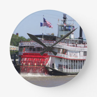 New Orleans Louisiana Mississippi River Boat Round Clock