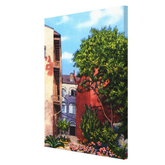 New Orleans Louisiana Old Courtyard with flowers Gallery Wrapped Canvas