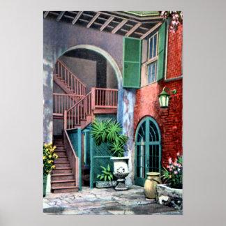 New Orleans Louisiana Spanish Courtyard 1920 Print