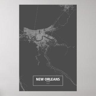 New Orleans, Louisiana (white on black) Print
