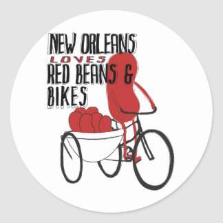 New Orleans Loves Red Beans and Bikes Classic Round Sticker