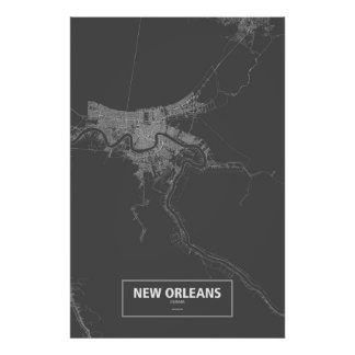 New Orleans, Luisiana (blanca en negro) Póster