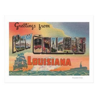 New Orleans Luisiana - escenas grandes de la letr Postal