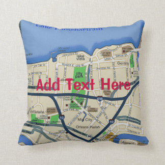 New Orleans Map, add text Pillow