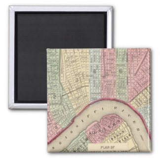 New Orleans Map by Mitchell 2 Inch Square Magnet