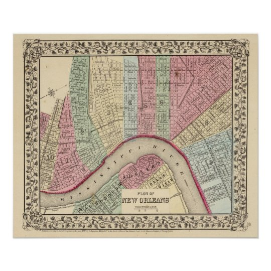 New Orleans Map by Mitchell Poster