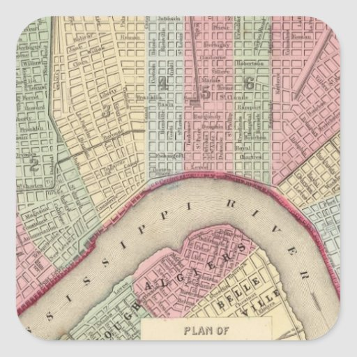 New Orleans Map by Mitchell Square Sticker