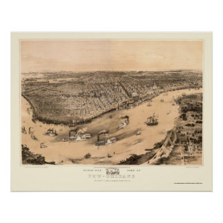 New Orleans, mapa panorámico del LA - 1851 Póster