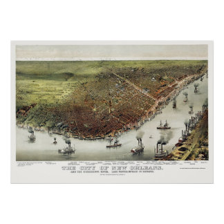 New Orleans, mapa panorámico del LA - 1885 Poster