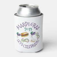 New Orleans Mardi Gras Beignet Beads Mask Po'Boy Can Cooler