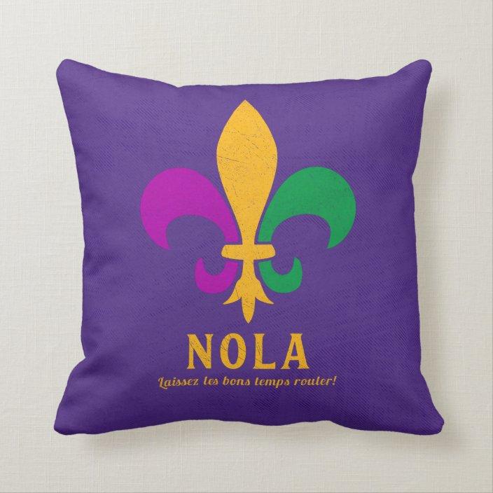 Colorful Fleur De Lis Throw Pillow