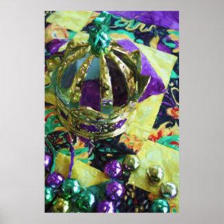 New Orleans Mardi Gras Hat Beads Poster Print
