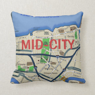 New Orleans Mid-City Map Pillow