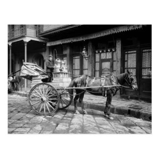 New Orleans Milk Cart: 1903 Postcard