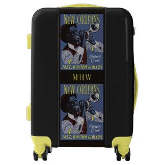 New Orleans Music custom monogram luggage