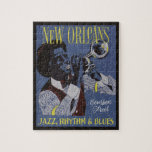 "New Orleans Music puzzle<br><div class=""desc"">Made of a vintage travel poster. See my store for more items with this image.</div>"