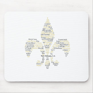 New Orleans Neighborhoods - Gold/Black Mouse Pad