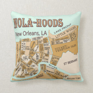 New Orleans Neighborhoods Map, NOLA_HOODS Throw Pillow