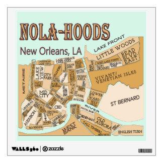 New Orleans Neighborhoods Map, NOLA_HOODS Wall Sticker
