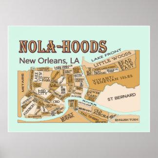 New Orleans Neighborhoods, NOLA-HOODS Poster
