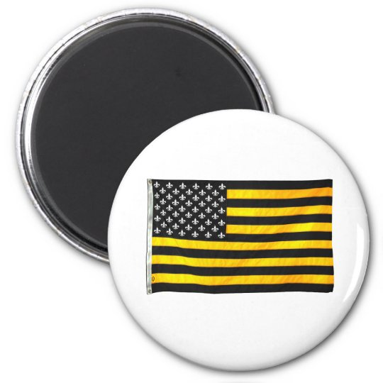 New Orleans NOLA Black and Gold American USA Flag Magnet
