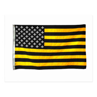 New Orleans NOLA Black and Gold American USA Flag Postcard