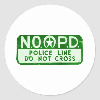 New Orleans NOPD Police Line Do Not Cross Sign Classic Round Sticker