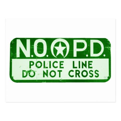 New Orleans NOPD Police Line Do Not Cross Sign Postcard