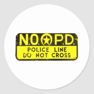 New Orleans NOPD Police Line Sign - Black & Gold Classic Round Sticker