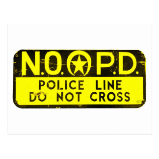 New Orleans NOPD Police Line Sign - Black & Gold Postcard