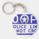 New Orleans NOPD Police Line Sign - Blue Keychain
